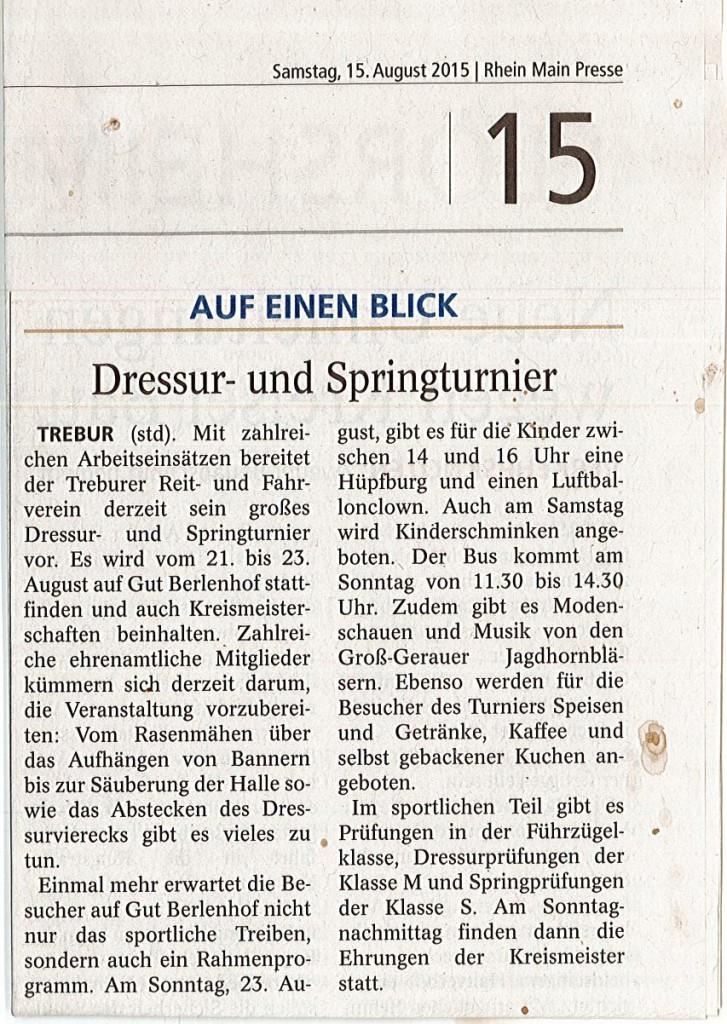 Zeitungsbericht Rhein Main Presse 15.08.2015